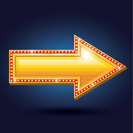 arrow sign: Night club billboard retro golden arrow light frames