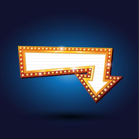 Electric bulbs billboard. Retro arrow light frames illustration Vettoriali