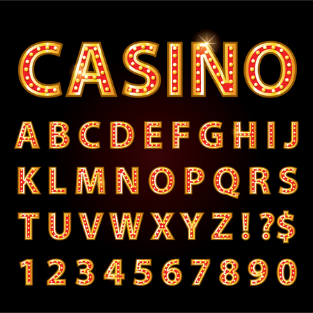 theather: Vector orange neon lamp letters font show casino and theather Illustration