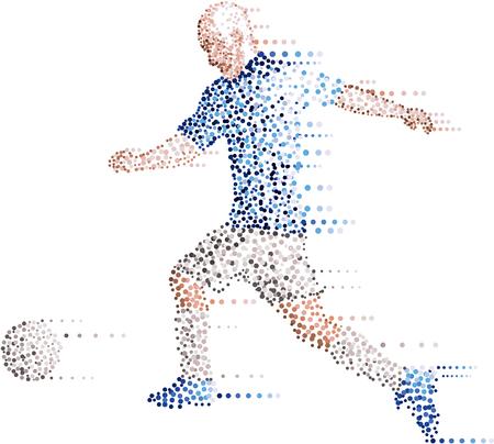 hit: Abstract modern dots football soccer player, kick the ball
