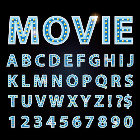 theather: Vector blue neon lamp letters font show cinema or theather on black background Illustration