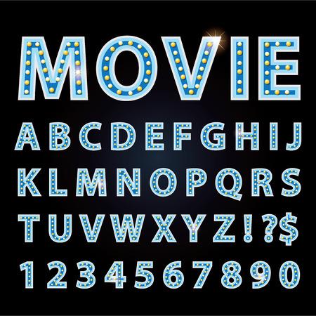 Vector blue Neonlampe Buchstaben Schrift zeigen Kino oder theather auf schwarzem Hintergrund