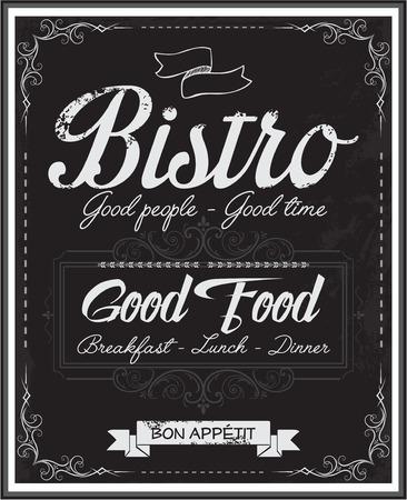 whirling: Vintage black school board restaurant bistro menu