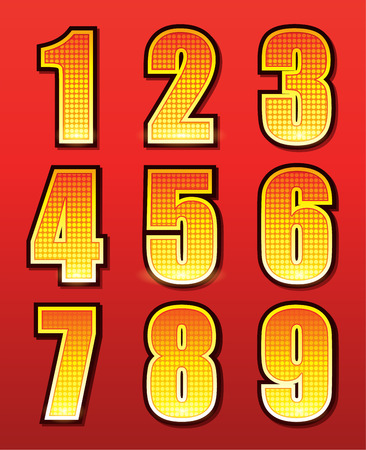 holiday movies: Retro numbers for signs with lamps isolated on red background