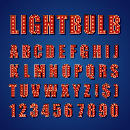 retro type: Retro Lightbulb Alphabet Vector Font Type letters on dark background Illustration