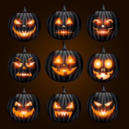 Jack o lantern pumpkin faces collection glowing on black background Illustration