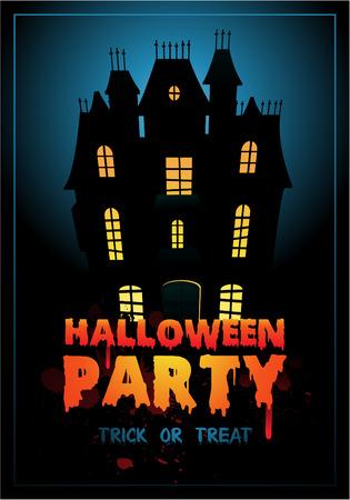 Happy Halloween Poster illustratie met spookhuis Vector Illustratie