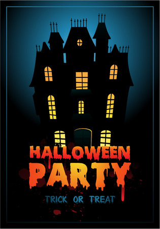 Happy Halloween Poster illustration with haunted house