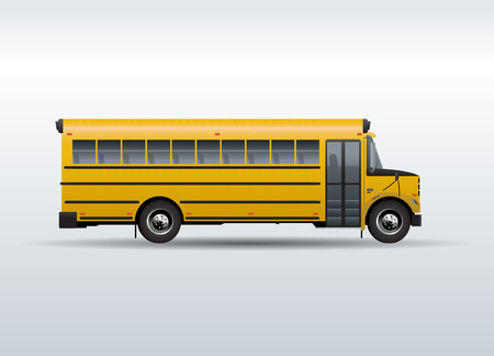 public school: Vector yellow school bus isolated on white background