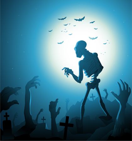 buried: Blue Zombie Halloween background with moon vector illustration Illustration