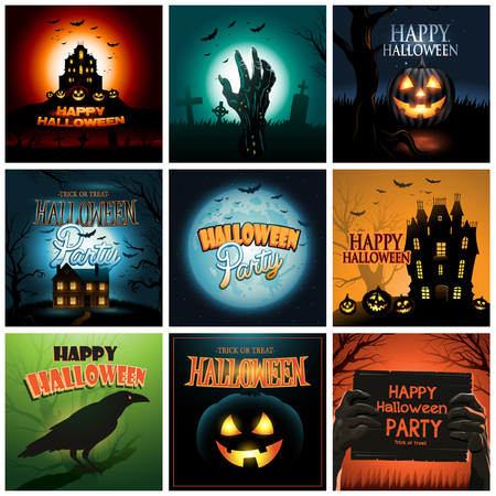 Nine Halloween backgrounds poster ad collection