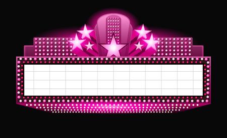 neon sign: Brightly vintage glowing pink retro cinema neon sign