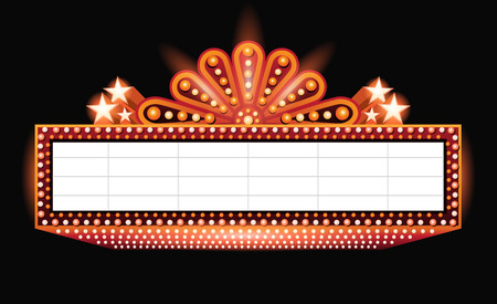 ヴィンテージ鮮やかな輝くオレンジのレトロな映画館のネオンサイン
