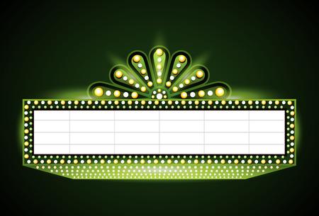 Brightly vintage glowing green retro cinema neon sign