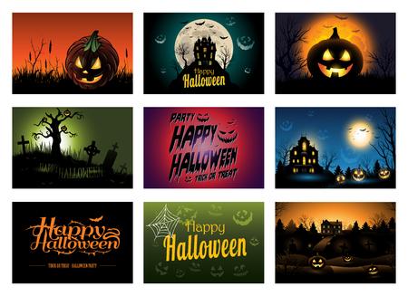 background house: Nine creepy Halloween greeting card invitation Illustration