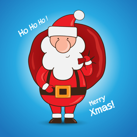 Cartoon Santa Claus holding a gift bag on blue background