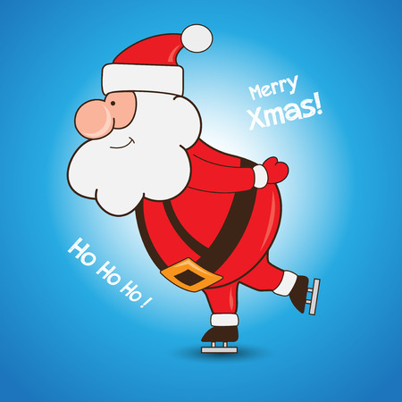 Cartoon Santa Claus skating greeting Christmas card background Illusztráció