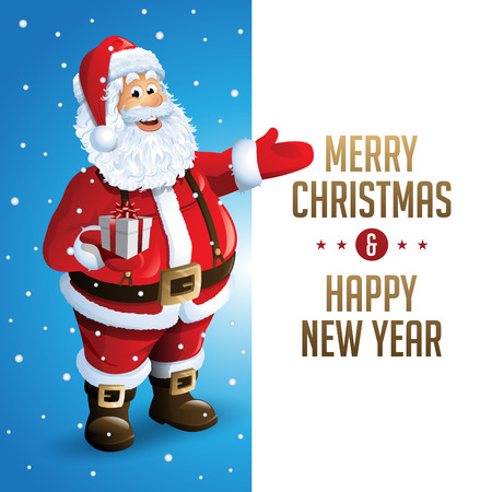Santa Claus Cartoon Character Showing Merry Christmas Tittle Written in Blank Space Illustration Illustration