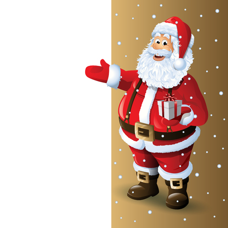 Santa Claus Cartoon Character Showing Blank Space Vector Illustration