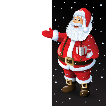 Santa Claus Cartoon Character Showing Merry Christmas Tittle Written in Blank Space Vector Illustration Illustration