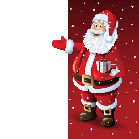 christmas time: Santa Claus Cartoon Character Showing Merry Christmas Tittle Written in Blank Space Vector Illustration Illustration