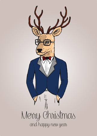 Cartoon hipster reindeer with suit hand drawn vector illustration Illustration