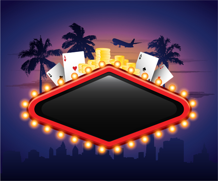 wager: Casinon vintage banner sign with cards chips and palm tree in front of city Illustration