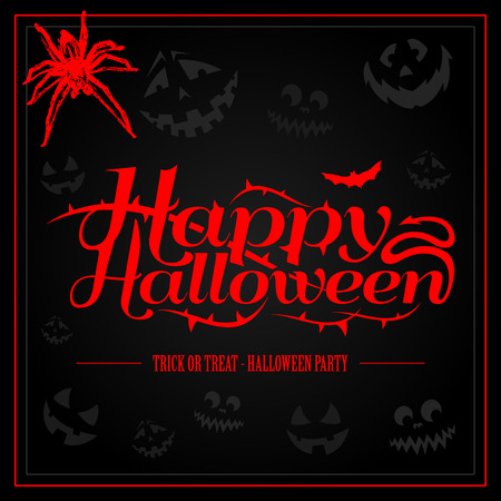 Happy Halloween creepy letters for greeting card or party invitation 向量圖像