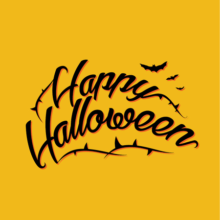 greeting card background: Halloween lettering greeting card yellow background