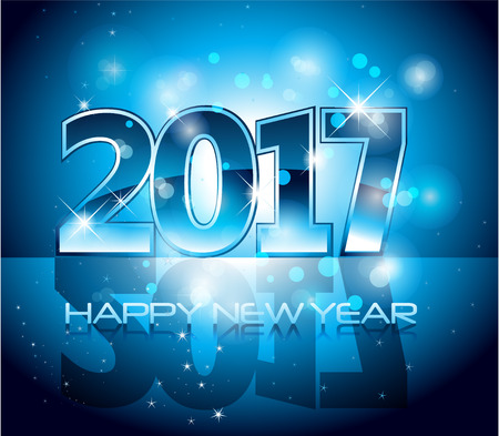 Vector 2017 Happy New Year sparkles background blue letters