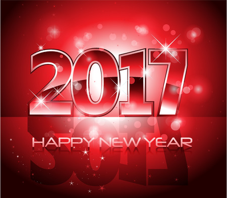 midnight time: Vector 2017 Happy New Year lights background red letters Illustration