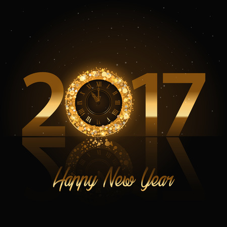five years old: Vector 2017 Happy New Year background with golden clock
