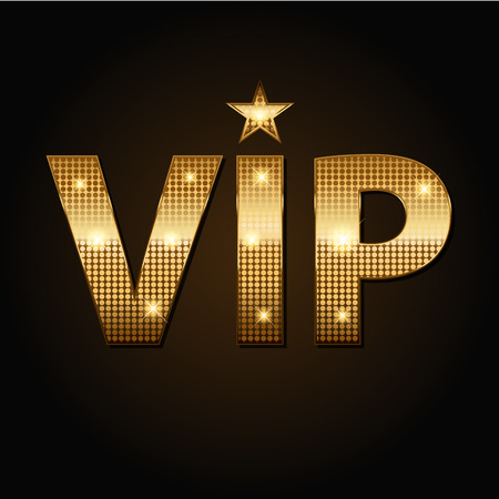 Vector VIP golden lights icons in black background