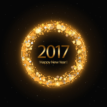 five to twelve: Vector 2017 Happy New Year background with golden clock
