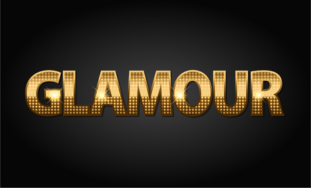 Golden glossy glamour luxury vector word in black background