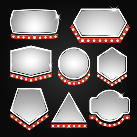 commercial painting: Silver banners frame copy space with lights isolated on black background