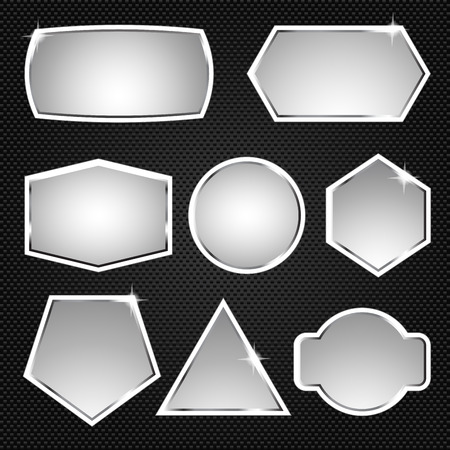square button: Metallic buttons. Icons Vector illustration banners Illustration