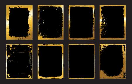 gilding: Set of Black and Gold Design Templates for Brochures, Flyers, abstract Modern Backgrounds. Illustration