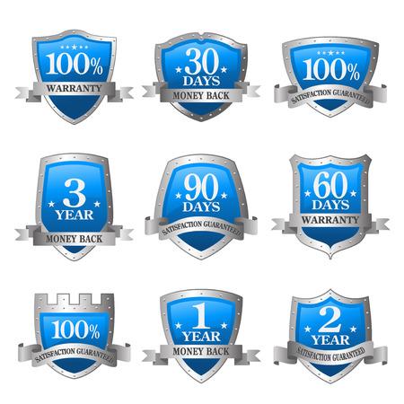 Blue vector warranty guarantee seal label