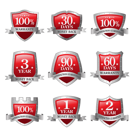 red and silver Emblem money back guarantee icons