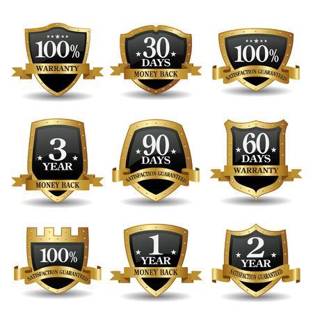 Vector set of 100 percent guarantee golden shield labels Illustration
