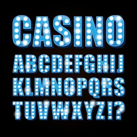 Vector azul de neón de la lámpara de la fuente cartas muestran casino y Teatro