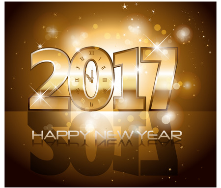 Vector 2017 Happy New Year background with golden clock