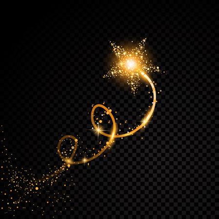 Oro brillante cola de polvo espiral estrella partículas brillantes en el fondo transparente. Espacio de cola de cometa. Vector ilustración de moda glamour conjunto
