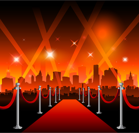 red carpet background: Red carpet with Hollywood sign on background