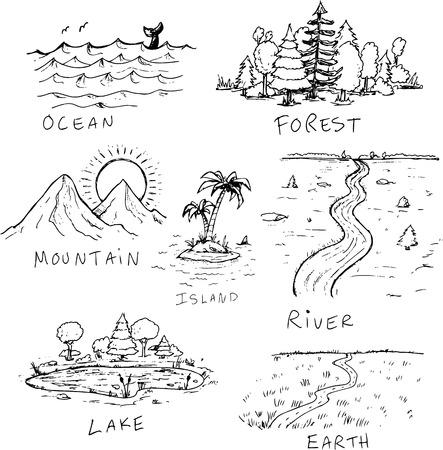 DIfferent hand drawn nature landscapes illustrations  イラスト・ベクター素材