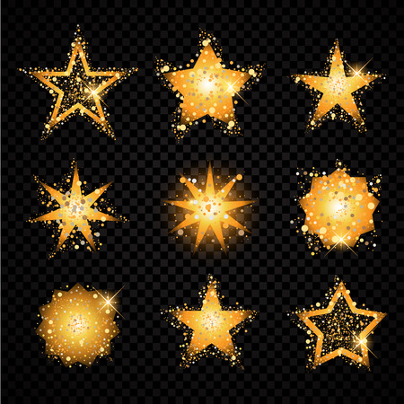 hallow: Gold glittering stars set sparkling particles . golden sparkles hallow tail. Vector glamour fashion illustration