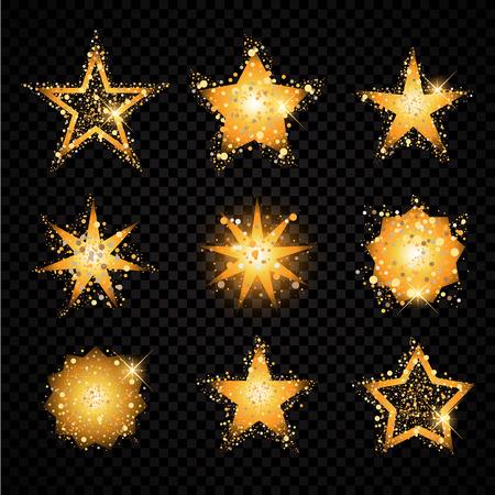 Oro stelle scintillanti impostati particelle scintillanti. bagliori dorati hallow coda. Vector moda glamour illustrazione