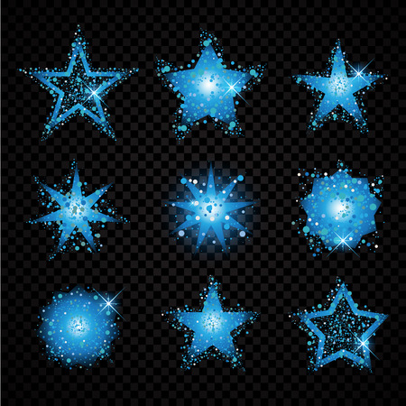 hallow: Blue glittering stars set sparkling particles on transparent . golden sparkles hallow tail. Vector glamour fashion illustration