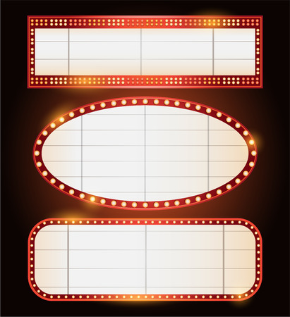 billboard advertising: Three Brightly theater glowing retro cinema neon sign Illustration